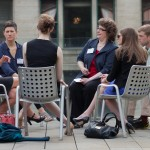 Conversation groups also took advantage of the great patio space at Morningstar, Inc.